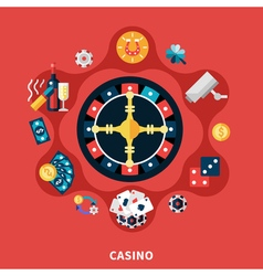Casino Roulette Icons Round Composition vector image vector image