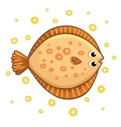 Cute cartoon flatfish isolated vector image