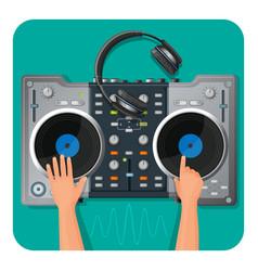 dj turntable modern headphones and human hands vector image
