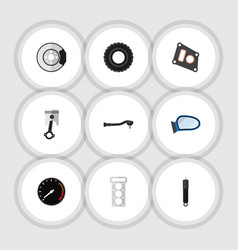 flat icon component set of wheel input technology vector image vector image