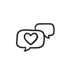 Heart in speech bubble sketch icon vector