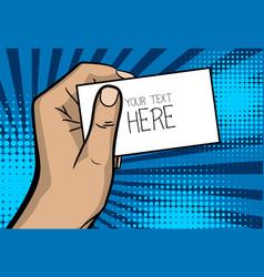 pop art business card cartoon man hand vector image
