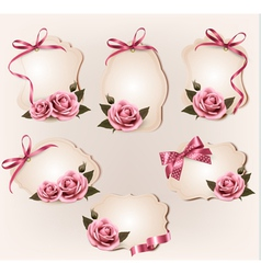 Set of beautiful retro labels with pink rose and vector image vector image