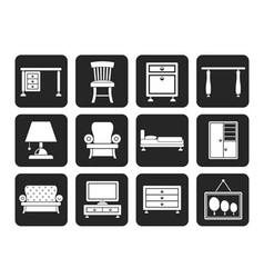 Silhouette Home Equipment and Furniture icons vector image