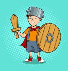 child in wooden armor pop art vector image vector image