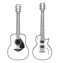 electric and acoustic guitars vector image vector image