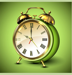 green retro style alarm clock on green background vector image vector image