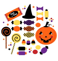 Halloween cute sweet Candy collection vector image vector image