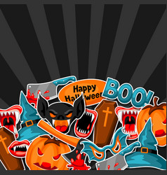 happy halloween background with cartoon holiday vector image vector image