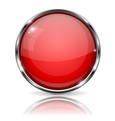 red button with chrome frame round glass shiny 3d vector image