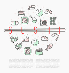 sushi bar circle concept with thin line icons vector image