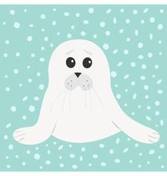 White seal pup baby harp Cute cartoon character vector image vector image