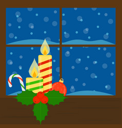 window with candles vector image vector image