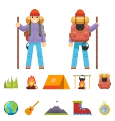 Backpaker Character Mountain Travel Trip Vacation vector image