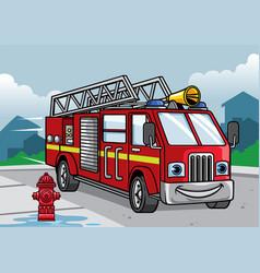 cartoon of firefighter truck vector image vector image