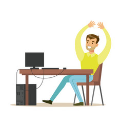 cheerful man sitting at the office table raising vector image