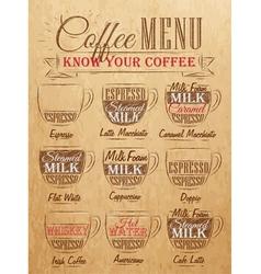 Coffee Menu cup Kraft vector image