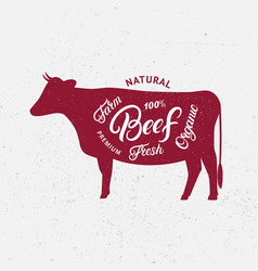 Cow silhouette and hand written lettering words vector