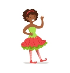 Girl With Afro Hairdo Dressed As Santa Claus vector image vector image