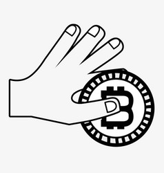 line icon hand and bitcoin money currency vector image