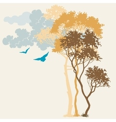 Nature background trees and clouds composition vector image