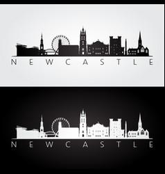 newcastle skyline and landmarks silhouette vector image