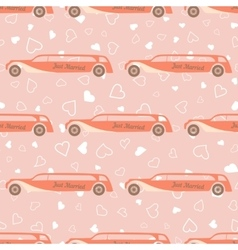 pink seamless pattern with wedding car vector image