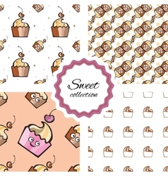 Seamless pattern with hand drawn cupcake and vector image vector image