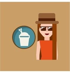 vacation woman sand bucket summer vector image vector image