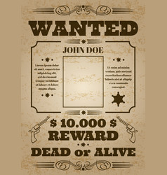 Wanted dead or alive western old vintage vector