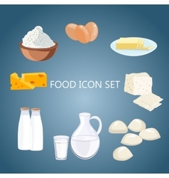 Dairy products flat cartoon vector