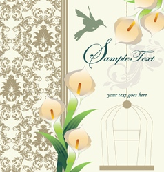 damask wedding invitation ornate with calla lily vector image