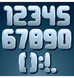 Metallic Font Set of Shiny Silver Numbers vector image vector image