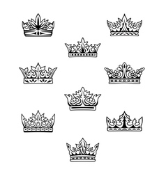 Set of king and queen crowns vector image vector image