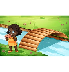 A Black little girl near the bridge vector
