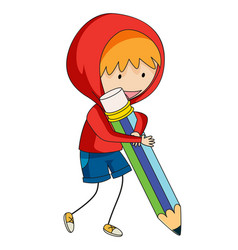 a doodle boy holding pencil vector image