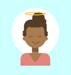 African american female with angel nimbus emotion vector