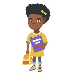 african-american pupil with backpack and textbook vector image