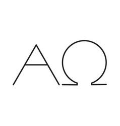 alfa omega line icon vector image