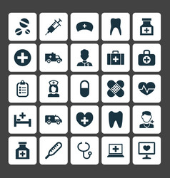 Antibiotic icons set collection pellet vector