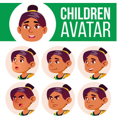 arab muslim girl avatar set kid high vector image