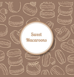 Background with hand drawn macaroon vector
