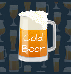 Beer mug with foam in cartoon style vector