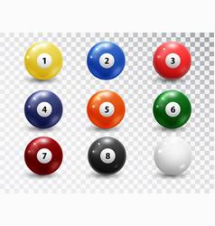 Billiard balls pool accessory set realistic vector