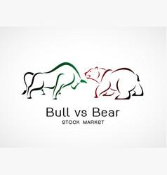 bull and bear symbols stock market trends vector image