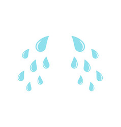 Cartoon cry tears droplets or teardrops icons vector