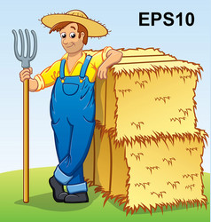 Cartoon farmer with pitchfork and hay bales eps10 vector