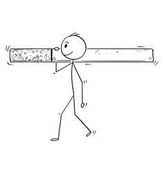 cartoon of man or businessman carrying big vector image