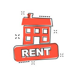 Cartoon rent house icon in comic style rent sign vector