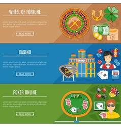 Casino And Gambling Flat Banners Set vector image